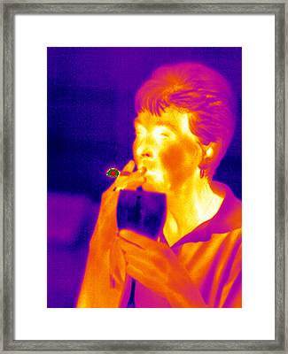 Smoking And Drinking, Thermogram Framed Print by Tony Mcconnell
