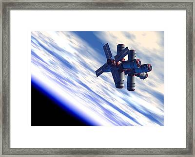 Space Hotel, Artwork Framed Print by Victor Habbick Visions