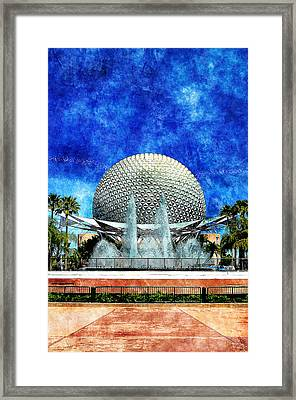 Framed Print featuring the digital art Spaceship Earth And Fountain Of Nations by Sandy MacGowan