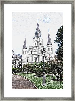 St Louis Cathedral Jackson Square French Quarter New Orleans Colored Pencil Digital Art  Framed Print