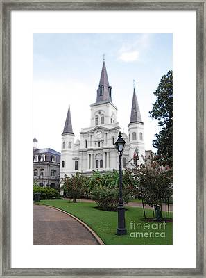St Louis Cathedral Jackson Square French Quarter New Orleans Diffuse Glow Digital Art  Framed Print by Shawn O'Brien