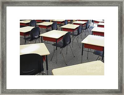 Student Desks In Classroom Framed Print by Skip Nall