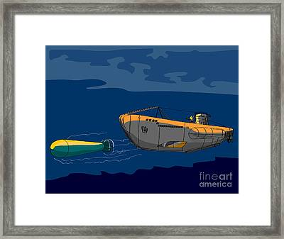 Submarine Boat Retro Framed Print
