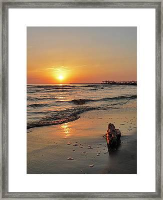 Sunset At Sea Coast Framed Print