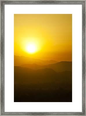 Sunset Behind Mountains Framed Print by U Schade