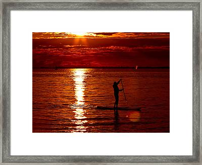 Sunset Silhouette Framed Print by Barbara  White