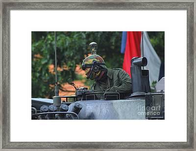 Tank Commander Of A Leopard 1a5 Mbt Framed Print by Luc De Jaeger