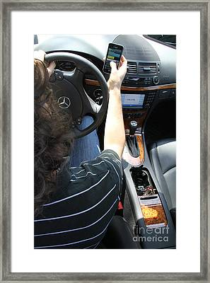 Texting And Driving Framed Print by Photo Researchers, Inc.