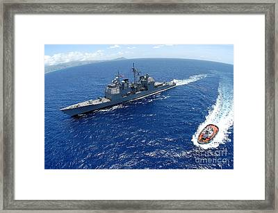 The Guided-missile Cruiser Uss Framed Print by Stocktrek Images