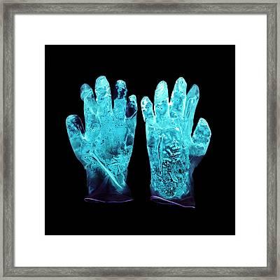 Used Surgical Gloves, Negative Image Framed Print