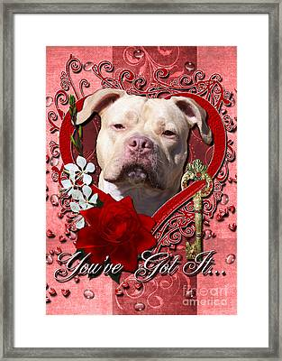 Valentines - Key To My Heart Pitbull Framed Print by Renae Laughner