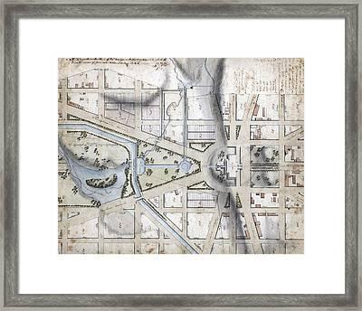 Washington, D.c. Map Showing Framed Print by Everett