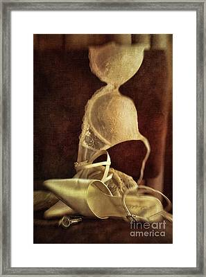 Wedding Shoes And Under Garments On Chair Framed Print by Sandra Cunningham