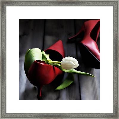 White And Red Framed Print by Joana Kruse