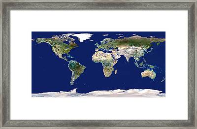Whole Earth Map Framed Print by Planetobserver
