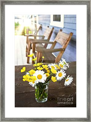 Wildflowers Bouquet At Cottage Framed Print