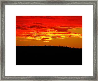Winter Sunset In Texas Framed Print by Rebecca Cearley