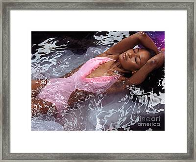 Woman In Swimsuit Lying In Water Framed Print by Oleksiy Maksymenko