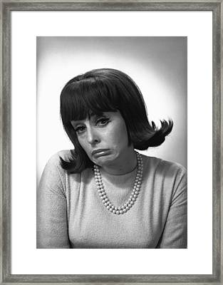 Woman Making Face In Studio, (b&w), Portrait Framed Print by George Marks