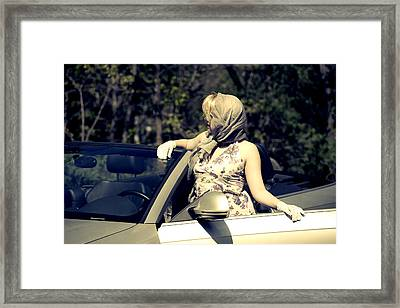 Woman With Convertible Framed Print