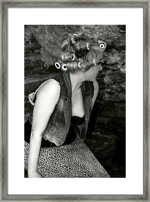 Woman With Curlers Framed Print