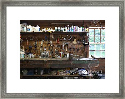 Work Bench And Tools Framed Print by Adam Crowley