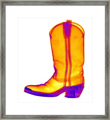 X-ray Of A Cowboy Boot Framed Print by Ted Kinsman