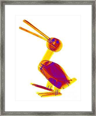 X-ray Of A Wooden Duck Toy Framed Print by Ted Kinsman