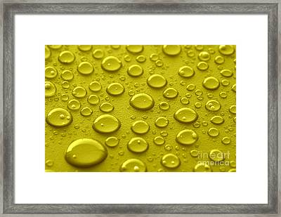Yellow Water Drops Framed Print