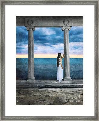 Young Woman As A Classical Woman Of Ancient Egypt Rome Or Greece Framed Print by Jill Battaglia