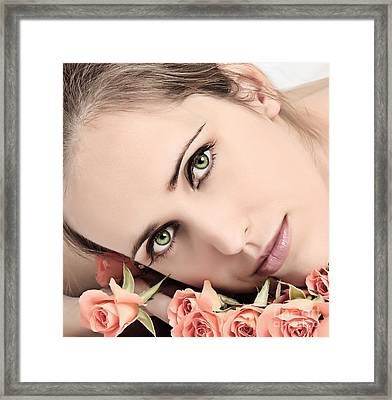 Young Woman With Roses Framed Print by Iryna Shpulak