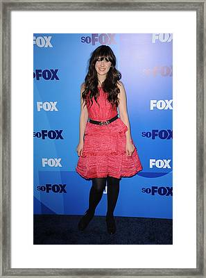Zooey Deschanel At Arrivals For Fox Framed Print by Everett