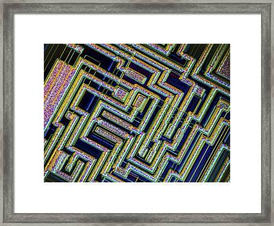 Microchip, Light Micrograph Framed Print by Pasieka