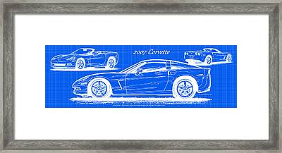 2007 Corvette Blueprint Series Framed Print