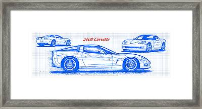 Framed Print featuring the drawing 2008 Corvette Blueprint by K Scott Teeters