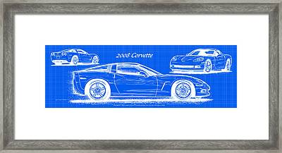 2008 Corvette Reverse Blueprint Framed Print