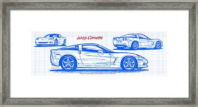 Framed Print featuring the drawing 2009 C6 Corvette Blueprint by K Scott Teeters