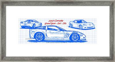 Framed Print featuring the drawing 2010 Corvette Grand Sport - Z06 - Zr1 Blueprint by K Scott Teeters