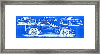 2010 Corvette Grand Sport - Z06 - Zr1 Reverse Blueprint Framed Print