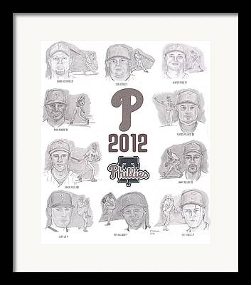 Chase Utley Drawings Framed Prints