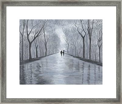 A Walk In The Park In Black And White Framed Print by Stuart B Yaeger