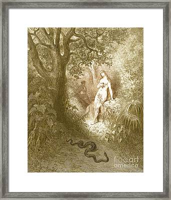Adam And Eve And Snake By Dore Framed Print by Photo Researchers