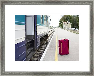 An Empty Railway Station In Estonia. A Framed Print by Jaak Nilson