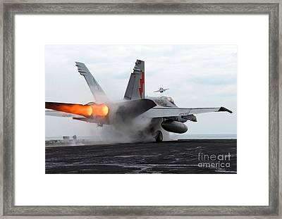 An Fa-18c Hornet Launches Framed Print
