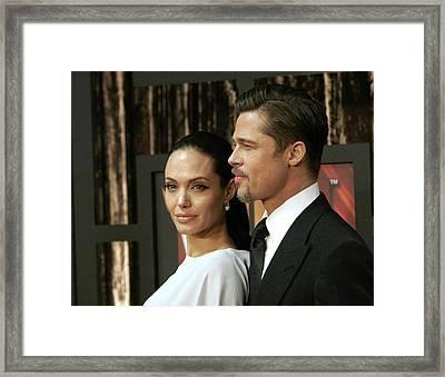 Angelina Jolie, Brad Pitt At Arrivals Framed Print by Everett