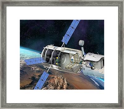 Atv Docked To The Iss, Artwork Framed Print