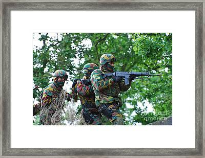 Belgian Paratroopers Proceeding Framed Print by Luc De Jaeger