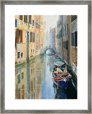 Canals Of Venice  Framed Print by Larisa Napoletano