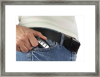 Car Key In Hand Framed Print by Blink Images