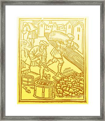 Charcoal Burners, Medieval Tradesmen Framed Print by Science Source